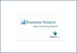 Ebsco Buseinss Source in blue with logo with circles green and dark blue