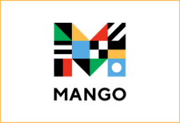 M in mango with different country's flags inside