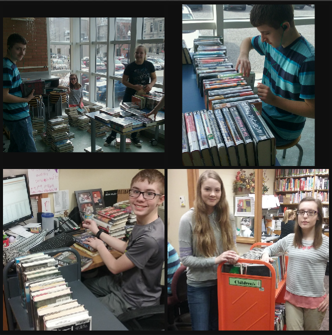 photo of teens sorting, reading and shelving books